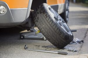 how to remove a stuck flat tire